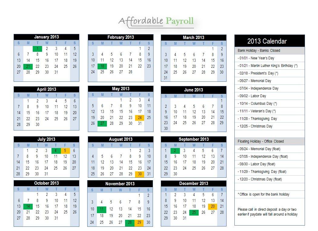Bi Monthly Payroll Calendar 2016 | Calendar Template 2016